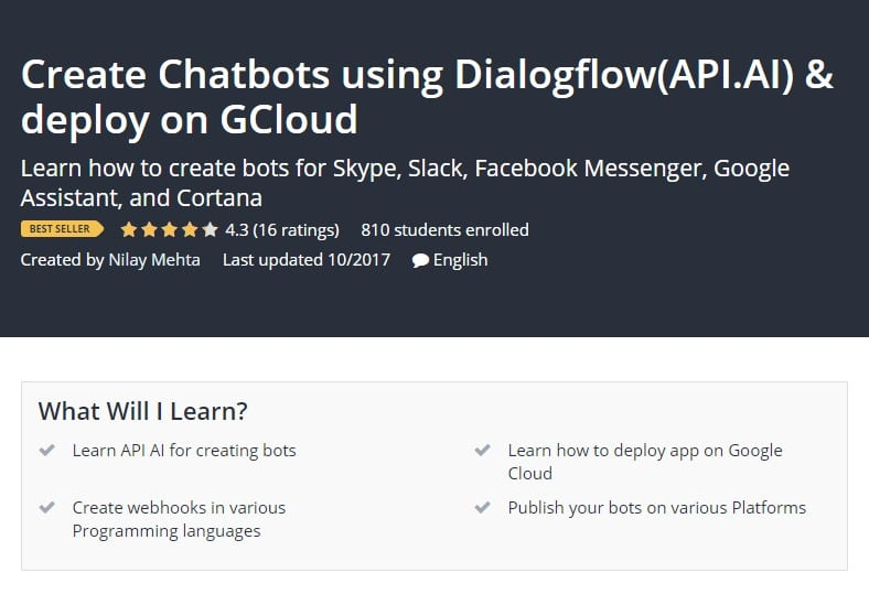 Create Chatbots using Dialogflow API.AI deploy on GCloud Udemy Course