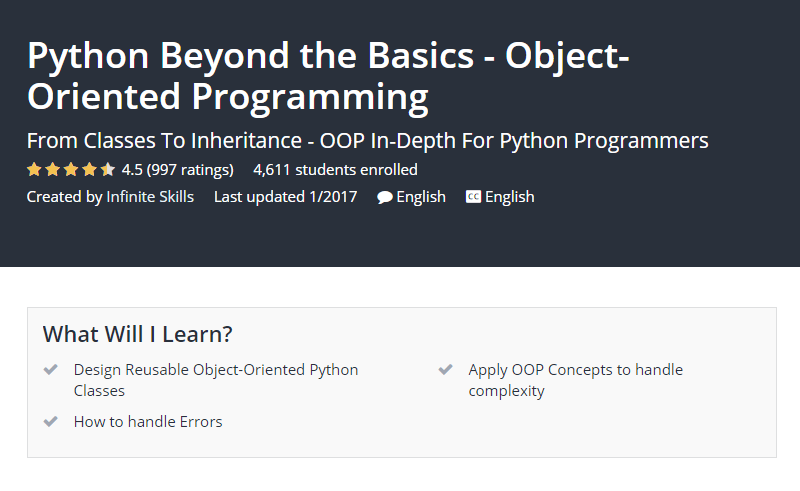 Python Beyond the Basics Object Oriented Programming Udemy