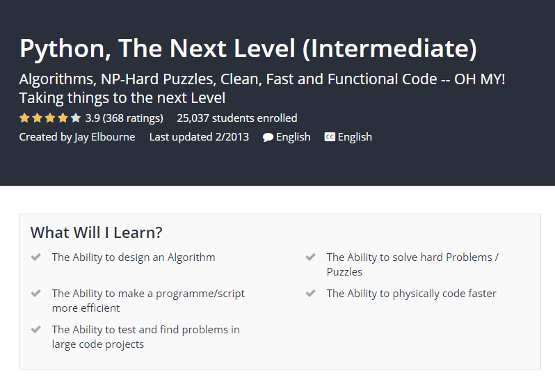 Python The Next Level Intermediate Udemy