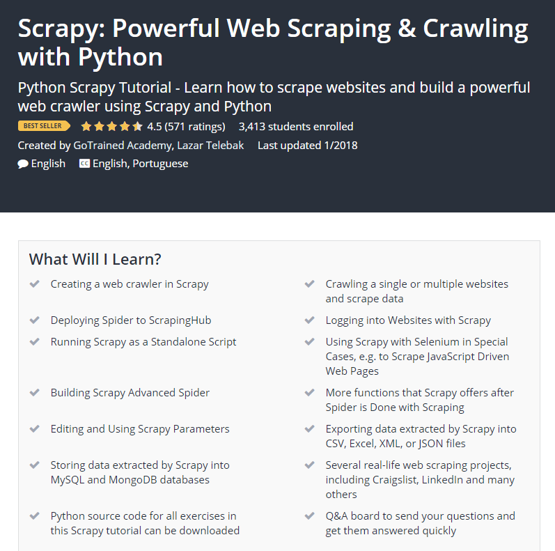 Scrapy Powerful Web Scraping Crawling with Python Udemy