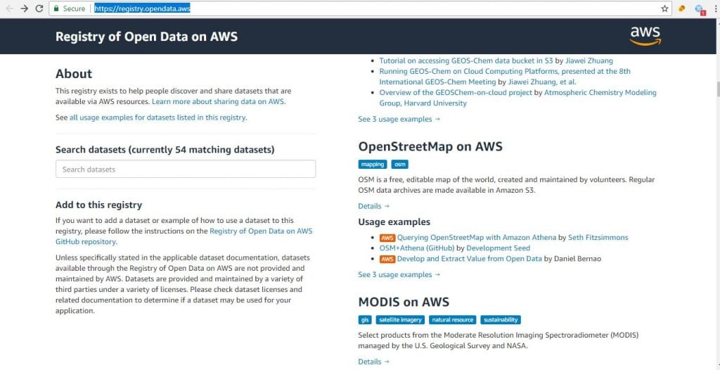 Datasets for machine learning aws