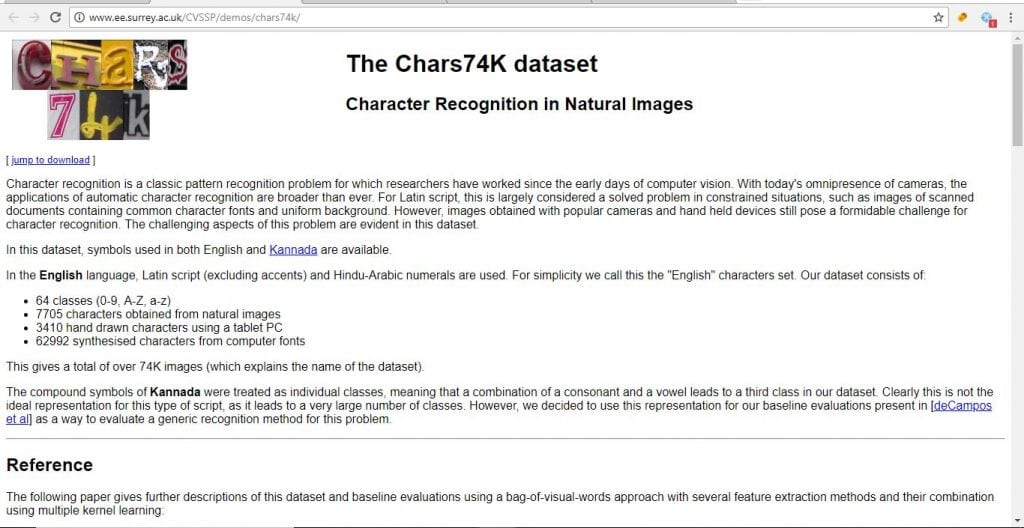 datasets for machine learning pojects charks74k