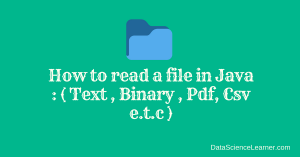 How to read a file in java : ( Text , Binary , Pdf, Csv e.t.c )